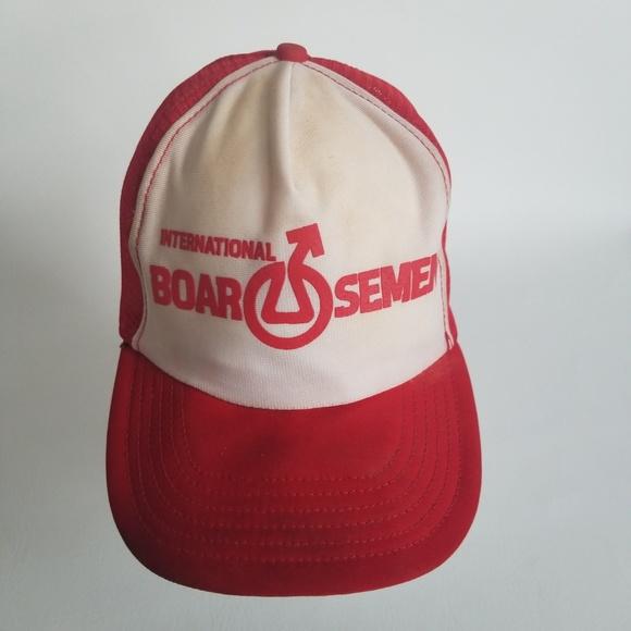 e1d4384a443 Vintage International Boar Semen Trucker Hat Cap. M 5ad0eb6b8290afb610a440a2
